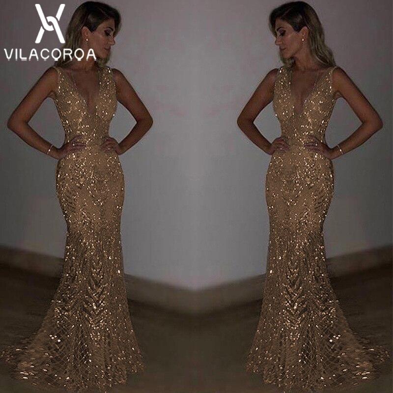 NEW Strap Gold Long Dress Women Modis Sexy Silver V-Neck Dress Solid Sleeveless Sequin Party Dress Vestidos Vestidos De Fiesta