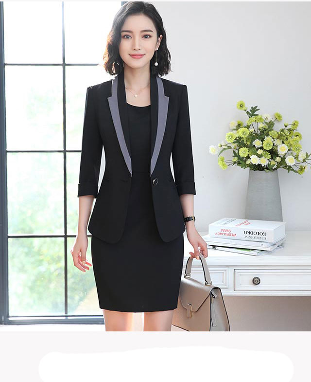 Hot Ladies Dress Suit for Work Full Sleeve Blazer Sleeveless Dress 2 Pieces Set 17