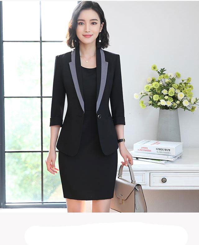 Hot Ladies Dress Suit for Work Full Sleeve Blazer Sleeveless Dress 2 Pieces Set 17