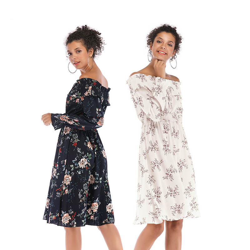 Sexy Off Shoulder Women Floral Print Chiffon Dress Long Sleeve For 2018 Autumn New Slash Neck Ruffled Midi Dress Elastic waist floral chiffon dress long sleeve
