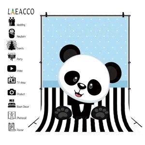 Image 2 - Laeacco Panda Black White Stripe Blue Points Birthday Photography Backgrounds Customized Photographic Backdrops For Photo Studio