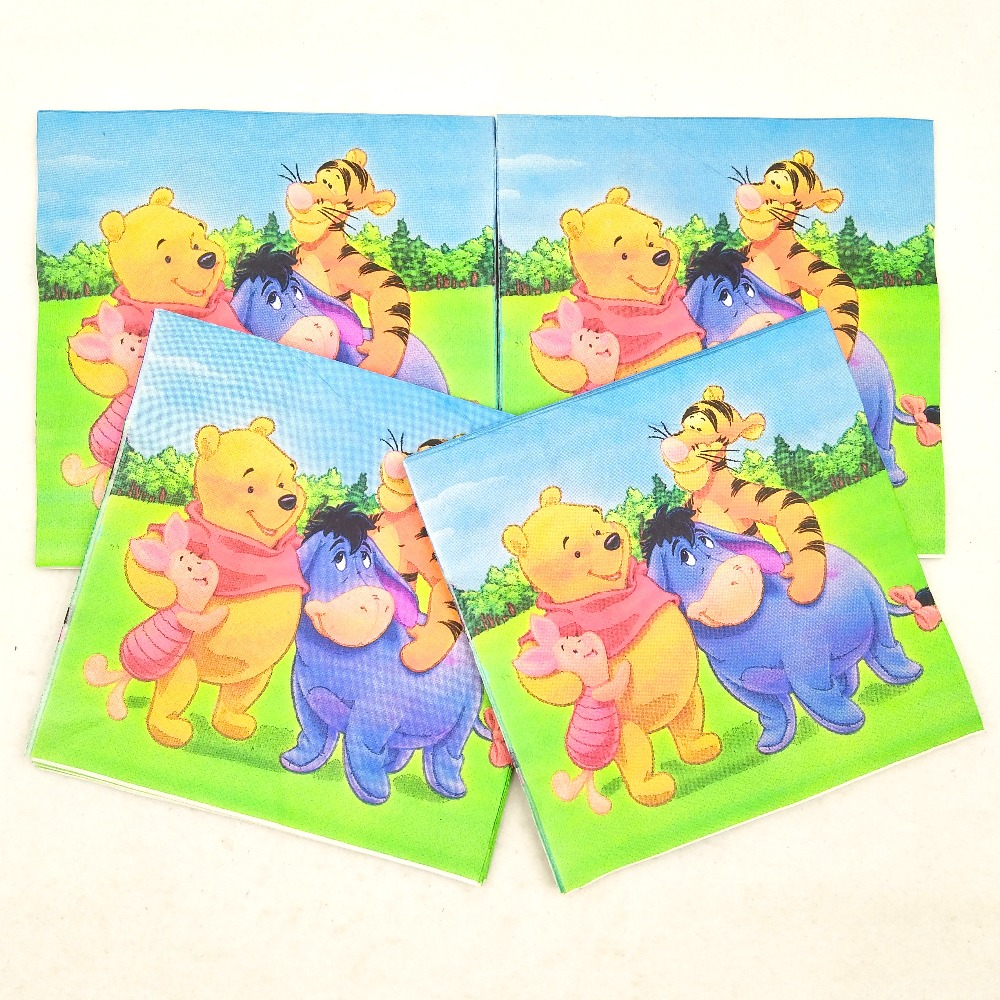 20pc set Bear Boys Party Supplies Paper Napkin animal Party Tissue Napkin For Kids Birthday Party Decorations in Disposable Party Tableware from Home Garden