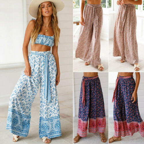 Hot Sale Stylish Women's Palazzo Floral Print   Wide     Leg     Pants   High Waist Loose Culottes Lace-up Long   Pants   S-XXL