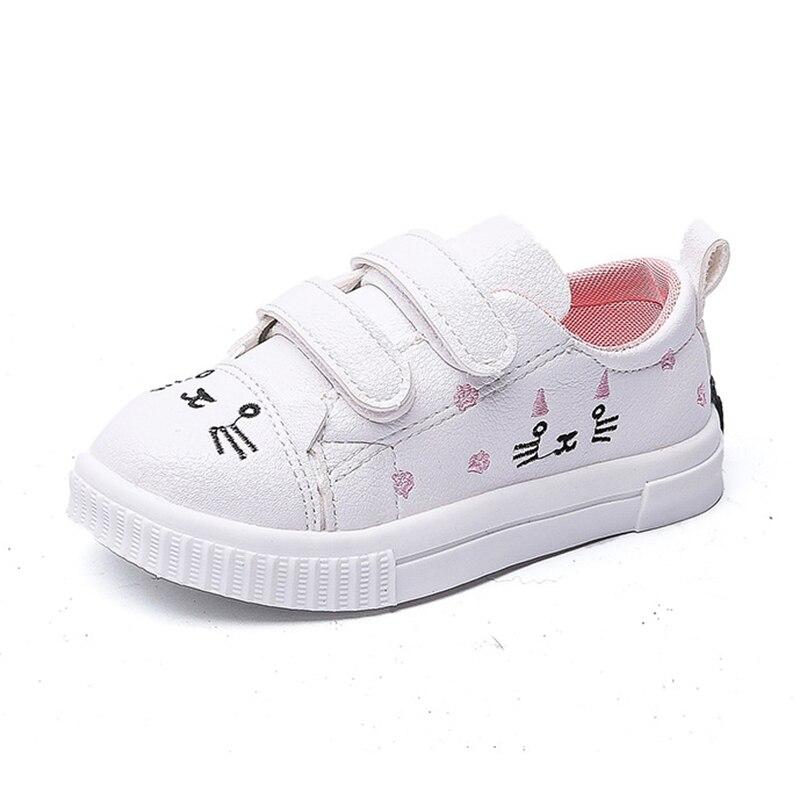 COZULMA Tênis Fashion Girls Crianças Gato Bonito Decoração Calçados Esportivos Crianças Respirável Anti-Slip Sola de Borracha Sapatos Casuais