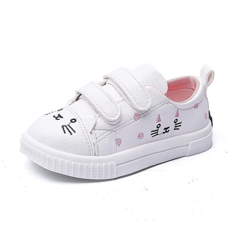 COZULMA Girls Fashion Sneakers Kids Cute Cat Decoration Sports Shoes Children Breathable Non-Slip Rubber Sole Casual Shoes