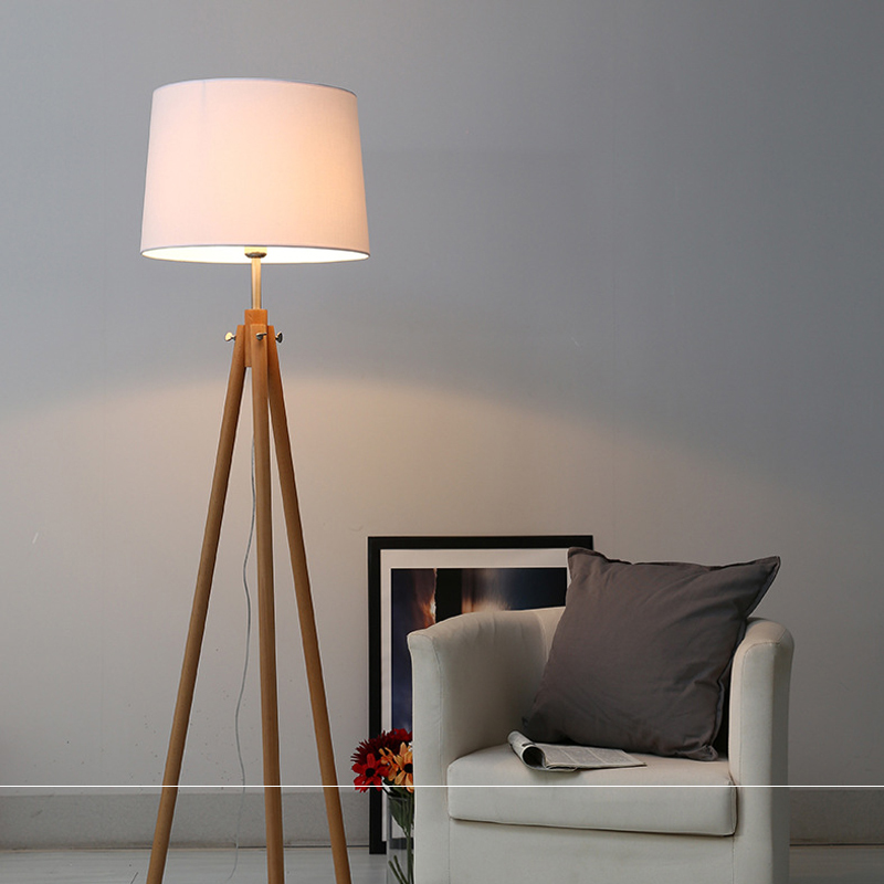 Tripod Stehlampe Modern Nordic Wooden Floor Lamps Wood Fabric Lampshade