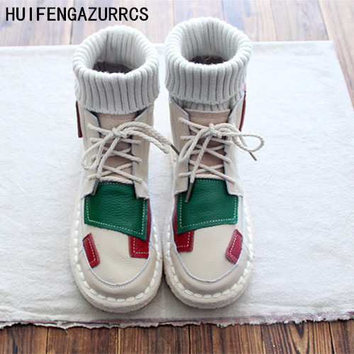HUIFENGAZURRCS الأصلي جلد طبيعي اليدوية أحذية ، تقسم ألوان الفن و العتيقة الأحذية ، الشتاء الكاحل جولة bootsS كثيرا الوحيد الأحذية-في أحذية الكاحل من أحذية على  مجموعة 1