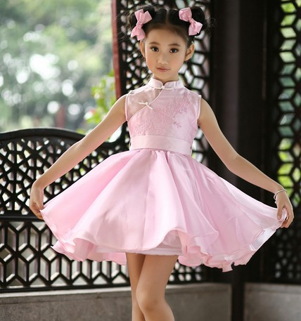 New  Arrival 2016 Girl Costume Cheongsam Perspective Wedding Formal Dress Zither Performances Party Dress Kids Girl  Ball Gown