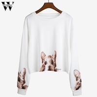 WOMAIL 2017 New Fashion Autumn Women Long Sleeve Animal Printed Sweatshirt Sweater Casual Pullover Tops t-shirts oct12