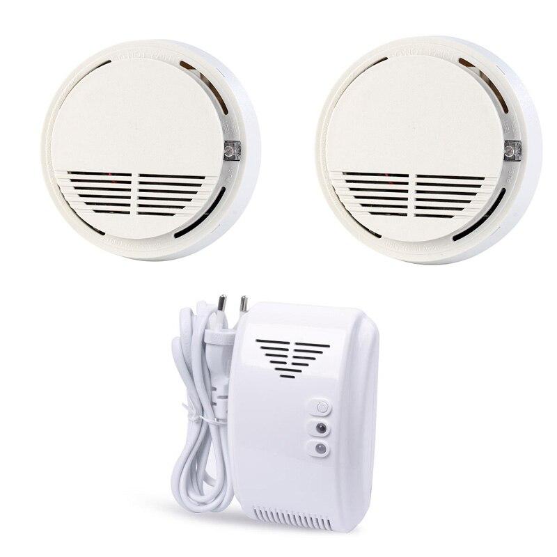 Smoke Alarm Wireless Fire Detector Natural Gas Leak Detector Sensor 433MHz For Home GSM Alarm Security System SM-100/GL-100A