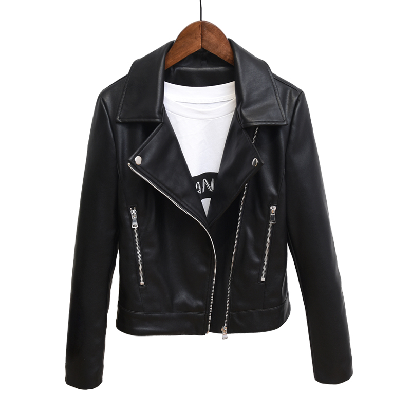 Brand Motorcycle Leather Jacket Women Winter And Autumn New Fashion Coat Black Zipper Leather Jacket Lady Short Outerwear 2018