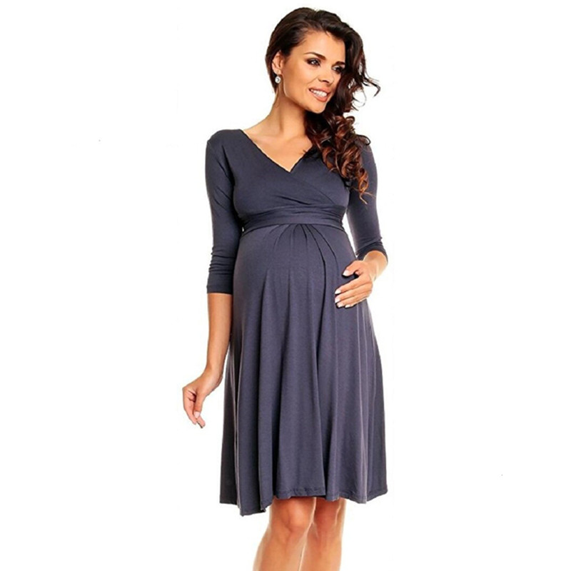 2018 Spring Summer Pregnancy Clothes Dress Deep V Neck Three Quarter Sleeve Maternity Dresses for Plus Size Women sexy knitted long sleeve deep v neck pack hips women dress fashion solid mini sheath summer dresses new 2017 casual vestido s xl
