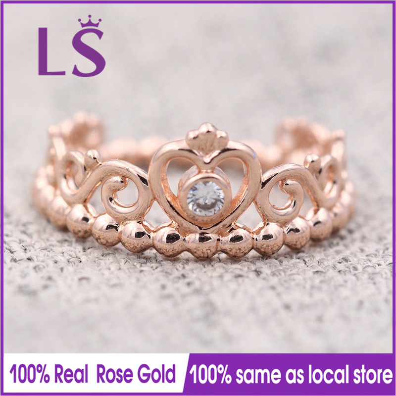 LS Hot Sale Rose Gold My Princess Tiara Ring,Wedding Rings for Women.Compatible With Original Jewelry.Fashion Lady Jewelry.Z new pure au750 rose gold love ring lucky cute letter ring 1 13 1 23g hot sale