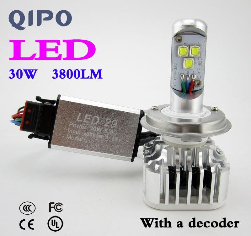 <font><b>2017</b></font> MOTOCYCLE MOTO MOTOR HEAD LIGHT LAMP <font><b>LED</b></font> H4 <font><b>H7</b></font> 30W 3000LM WHITE BULB HILO CONVERSION DRL Fog HEADLIGHT UNIVERSAL