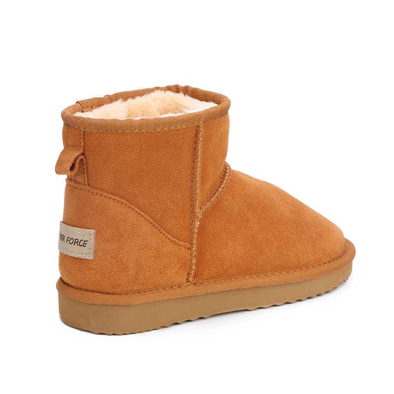 MBR KRACHT Australië Vrouwen Snowboots 100% Echt Leer Enkellaars Warme Winter Laarzen Vrouw schoenen grote maat 34 -44