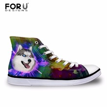 FORUDESIGNS Husky Pattern Men Flats Vulcanized Shoes 2018 Fashion Men's Casual Canvas Shoes High Top Lace-up Shoes for Teen Boys