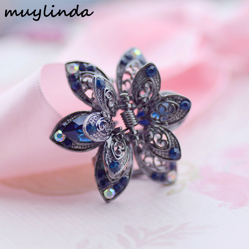 Vintage Flower Crystal Hair Claws Clip Rhinestone Hairpin Hair Smycken Charm Hair Accessoarer För Kvinnor