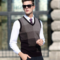 100 Autumn Winter Men Wool Vest Sleeveless Sweater Plaid Casual Computer Knitted V Neck Vest Sleeveless