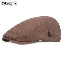 XdanqinX Adjustable Head Size Mens Felt Woolen Heret Hat Spring Autumn Simple British Fashion Visor Cap For Adult Trucker Caps