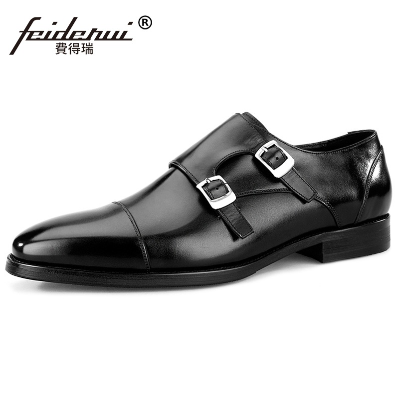 2017 Vintage Man Formal Dress Monk Straps Shoes Male Genuine Leather Handmade Oxfords Pointed Toe Men's Bridal Party Flats MG49  ruimosi new arrival formal man bridal dress flats shoes genuine leather male oxfords brand round toe derby men s footwear vk94