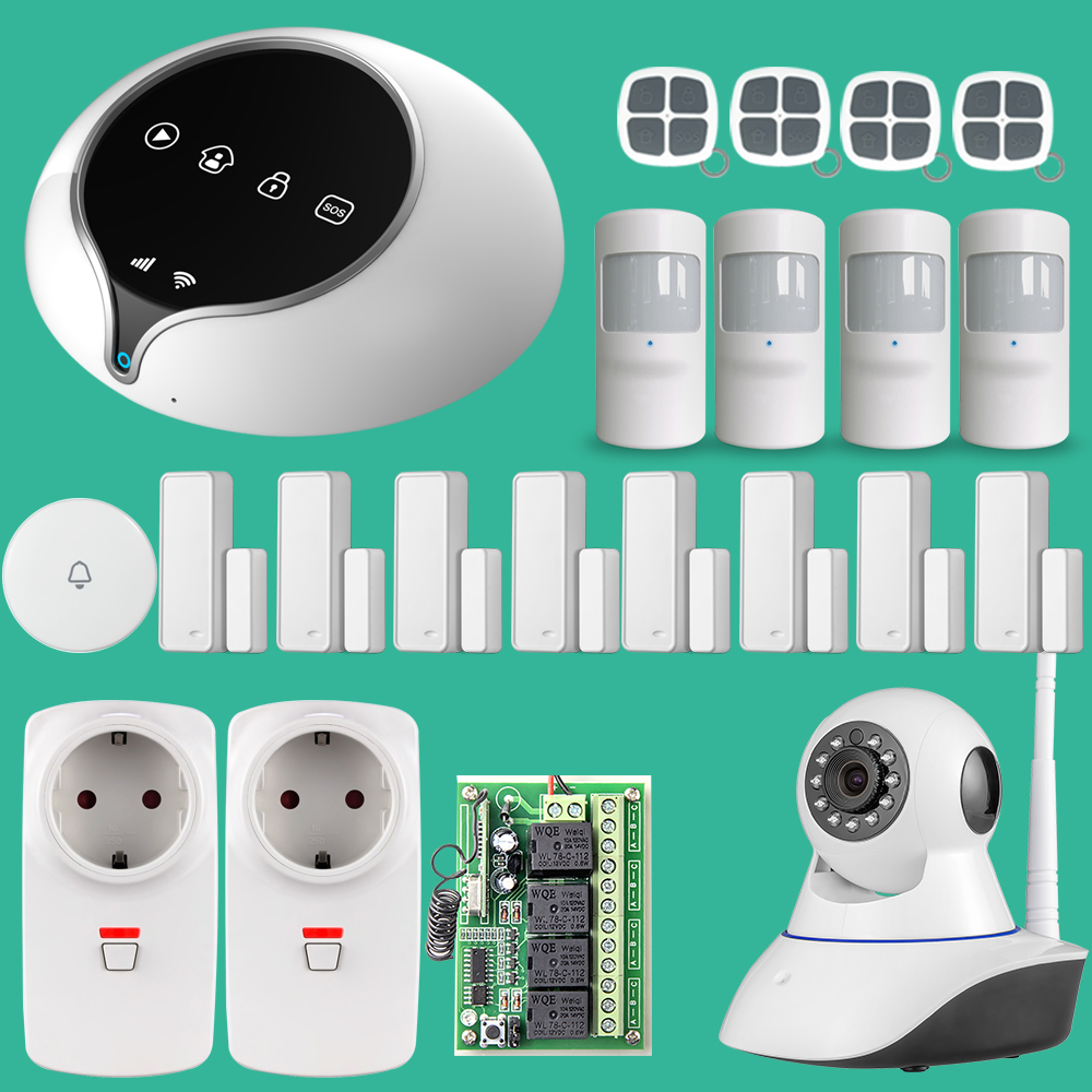 2017 GSM House Home Security Alarm System with Door Sensor PIR Infrared Detector IOS Android APP Control 3G Panel For Option ir 4beams outdoor 20m infrared barrier detector home yard door alarm for my gsm alarm system