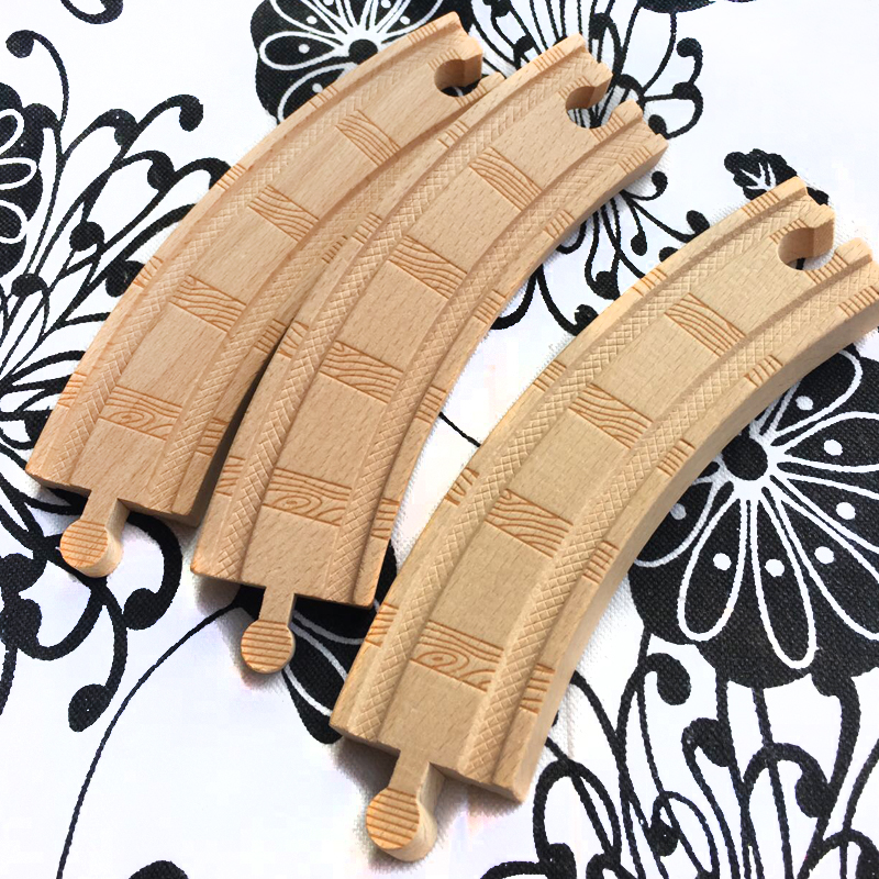 p086 High-quality railway pattern Double-sided large curved track Compatible Thomas Wooden rails Tracks Toys Accessories