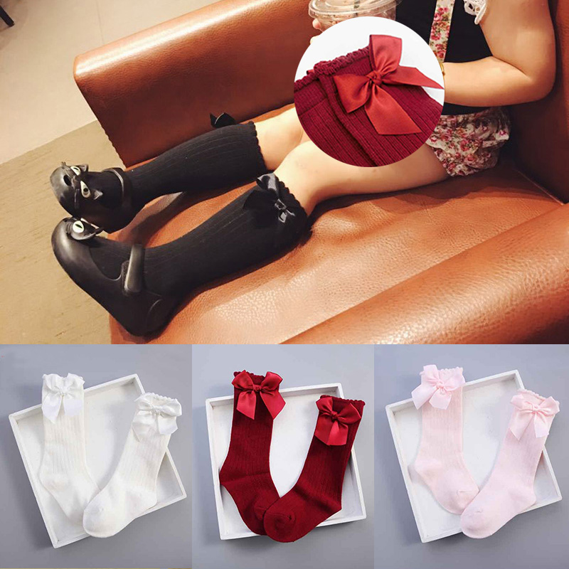 autumn winter Girls Socks Long Knee High socks With Bows Princess Kids socks Girl Cute Baby Sock Kids Child Striped meias 2-4Y 24k gold ring flower female women mother wife lady girl 2017new hot sale fine jewelry trendy good nice top upscale real pure 999