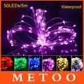 Multi-Cor 5 M 50 LEDs RGB LED String Luzes De Fadas de Fio de Cobre Da Lâmpada Guirlanda De Natal Decoração Estrelado Cobre fio À Prova D' Água