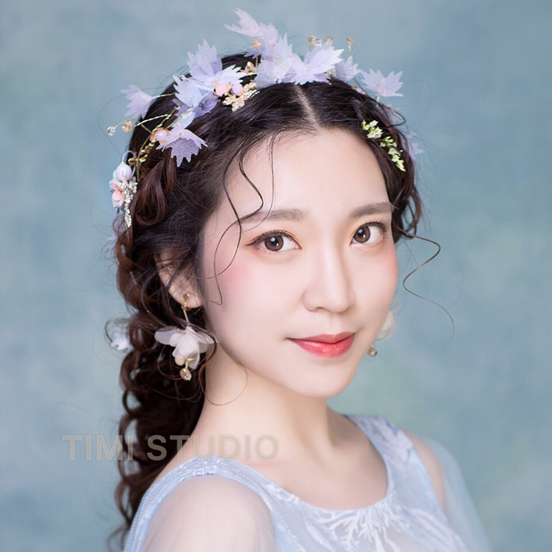 veil flowers beading fairy wood/theme studio hair decoration party/costume accessory princess headwear