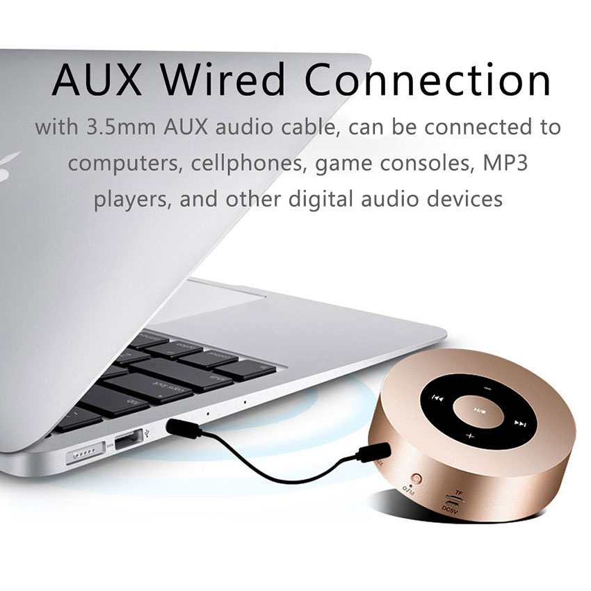 Aimitek Portable Bluetooth Speaker Touch Screen Mini Wireless Stereo Speaker Champagne-2