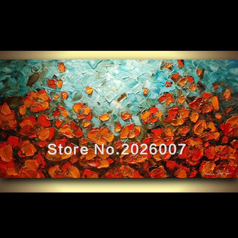 Pintado a mano Paisaje de alta calidad Azul Naranja Amapolas Cuchillo - Decoración del hogar