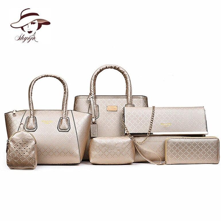 Women 6PCS/Set Handbags Girls PU Leather Shoulder Bag Casual Tote Bag Brand Designer Composite Messenger Bag Purse Clutch Wallet