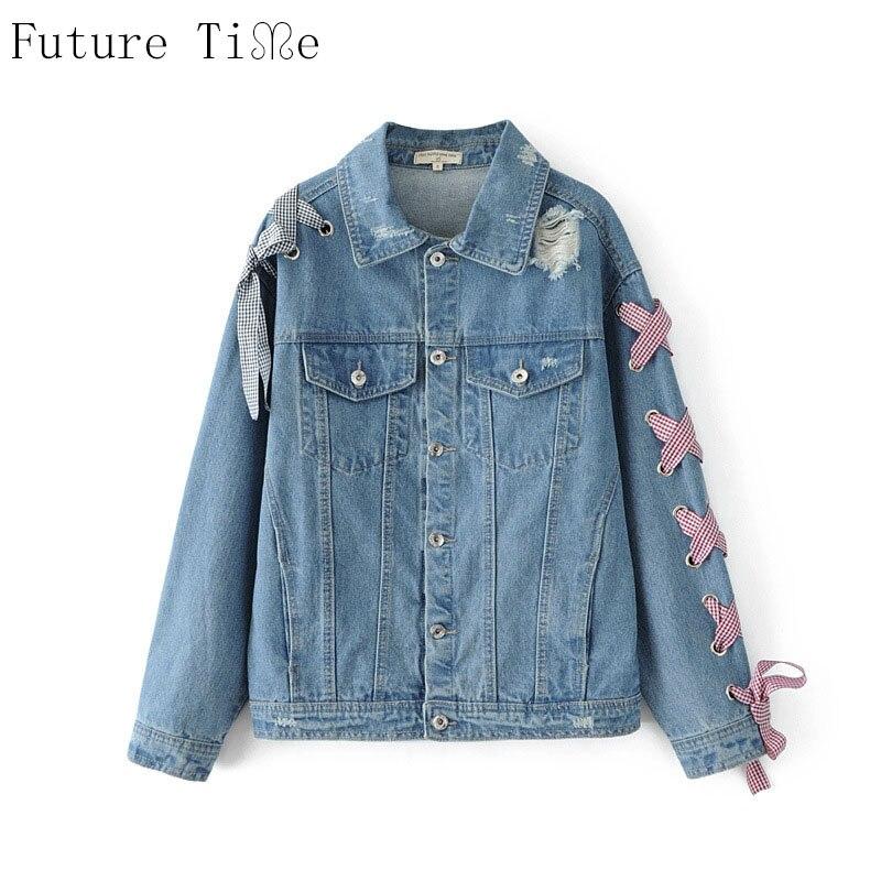 Future Time font b Women b font Denim font b Jackets b font Casual Plaid Bow