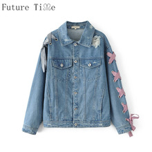 Future Time Women Denim Jackets Casual Plaid Bow Tie Lace Up Coats Causal Sweet Ripped Jackets Punk Style Lady Jeans Coats WT139