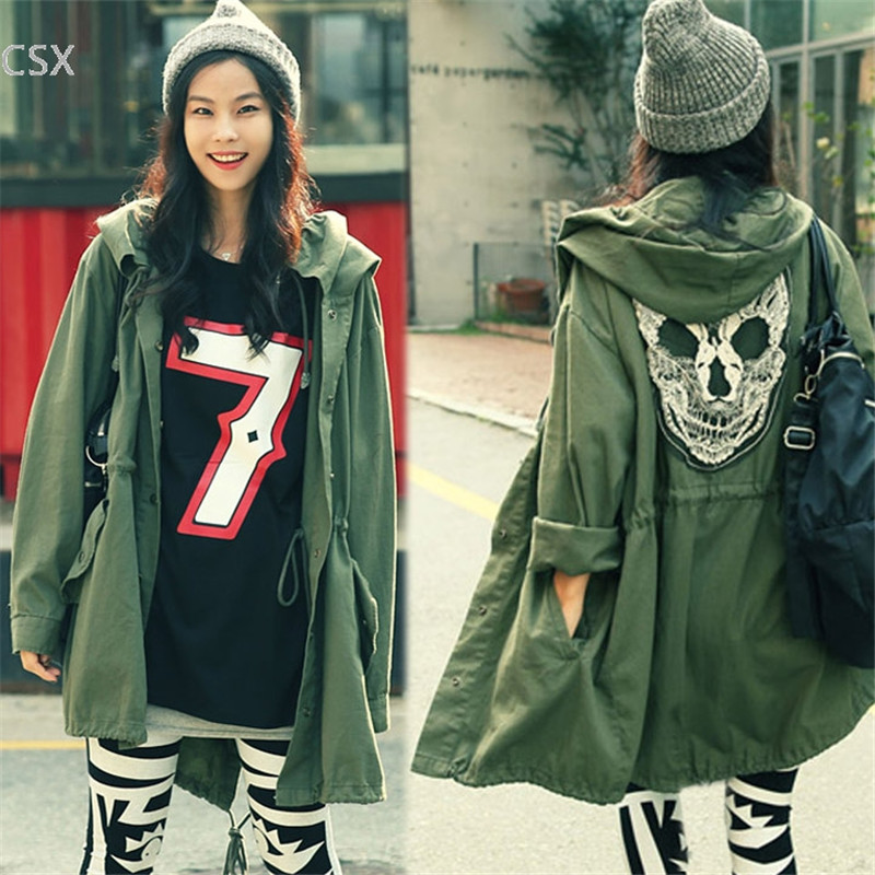 2018 New Women Back Skull Army Green Loose Hooded   Trench   Coat Single Breasted Long Casual Solid Color Outerwear Woman's Clothing
