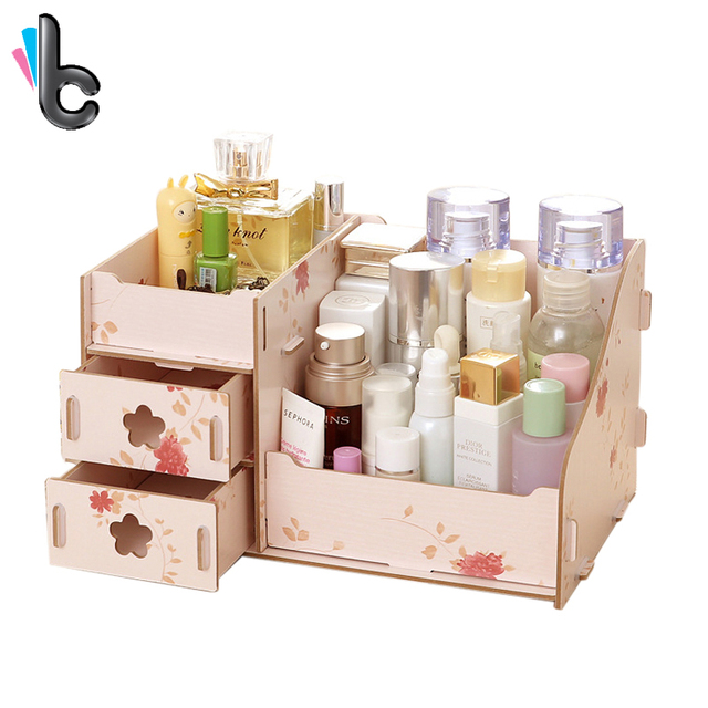 Wooden Storage Box Cosmetic Makeup Organizer Handmade DIY Assembly Storage  Case Jewelry Container
