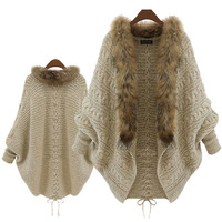 Fur Collar Winter Cardigan Pull Femme Batwing Poncho Outerwear Tricot Women Sweater Knitted New Brand Casual Knitwear Jacket S21