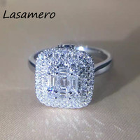 LASAMERO Ring For Women 0 69CT Certified Natural Diamond Ring Accents 18k Gold Real Diamond Engagement