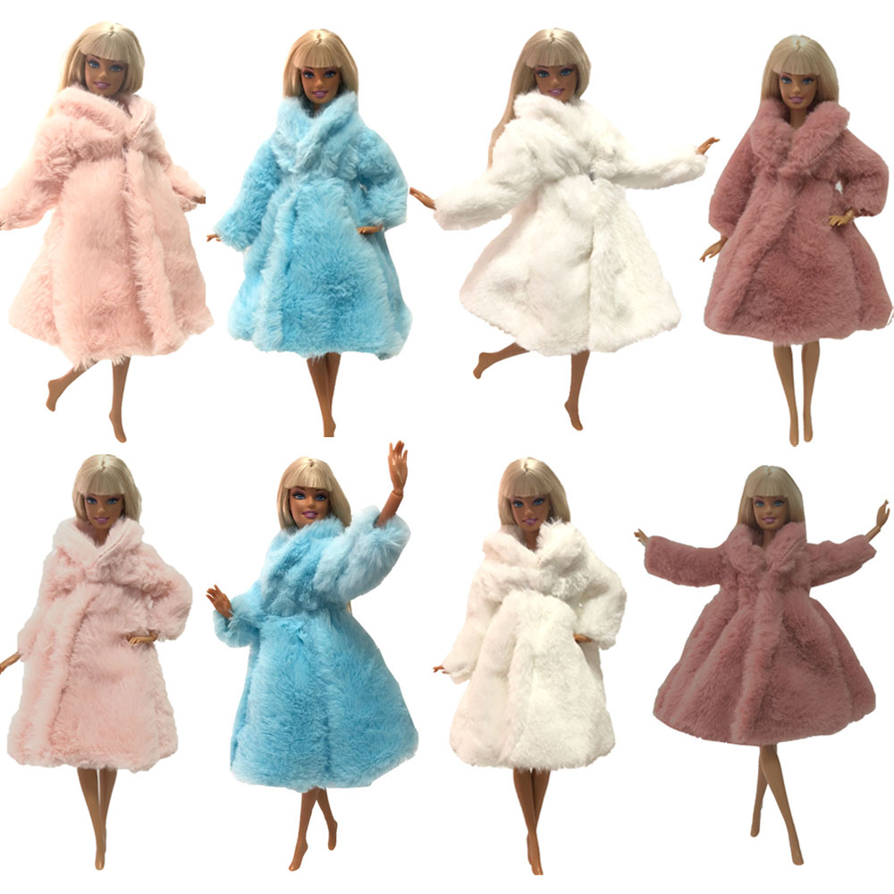 NK 2019 Doll Coat High Quality Clothes Fashion Dresse Handmade Grows Outfit Flannel Coat For Barbie Doll  Accessories DIY Toy JJ