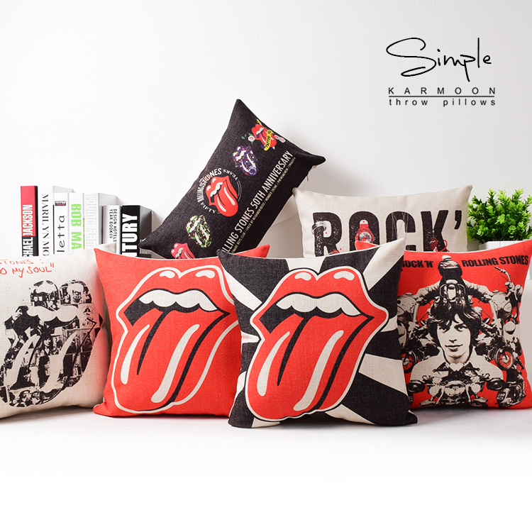 6 Styles Rock Music Sofa Cushion Covers Rolling Stone Lips