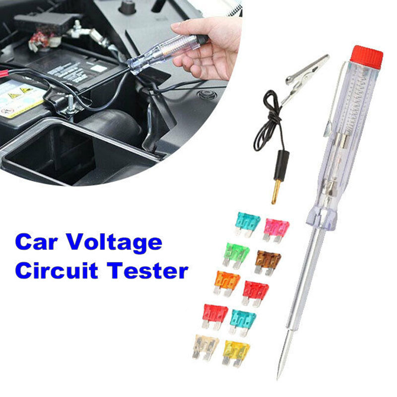 6/12/24V Circuit Tester W/ Alligator Clip Detector Car Long Probe Continuity Test Light Pen Useful Practical New