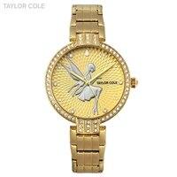 Taylor Cole Horloges Vrouwen Luxury Gold Crystal Case Lady Slim Quartz Steel Band Bracelet Clock Women Watch Gift Box / TC091