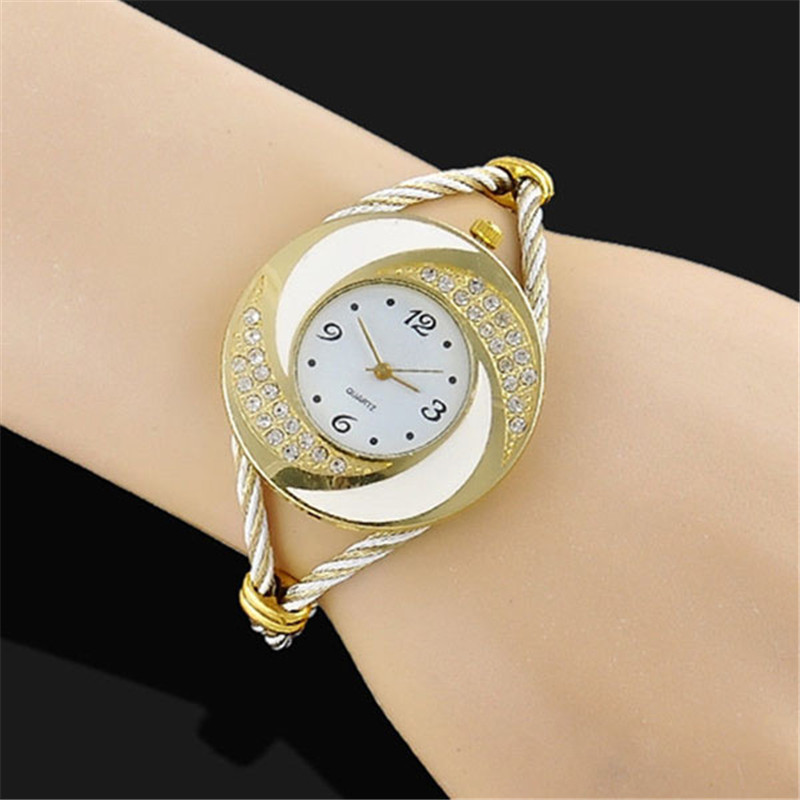 Gold Color  Luxury Watch Fashion Rhinestone Watches Women Quartz Bracelet Bangle Wrist Watch Female Clock Relogio luxury women rhinestone bangle crystal flower bracelet quartz wrist watch men fashion sale hot style selling