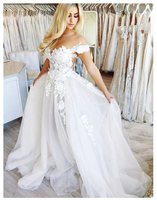 LORIE Boho Informal Wedding Dress 2019 Appliqued with Flowers Elegant Tulle  A-Line Sexy Backless Beach Bride Dress Wedding Gown 0b75396264dd