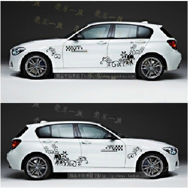 Free shipping 2 sides lot elegant flower high quality best price car sticker mercedes carbon