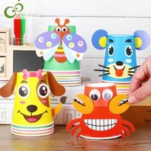 12 шт. детские 3D DIY бумажные стаканчики ручной работы стикер материал комплект весь набор детский сад Школа искусство Развивающие игрушки для рукоделия GYH