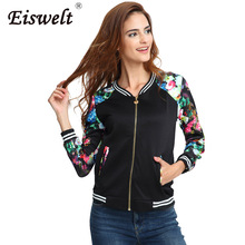Plus Size Flower Print Women Jacket Striped Tops Girl Casual Baseball Button Thin Sweatshirt Bomber Long Sleeves Coat Jackets