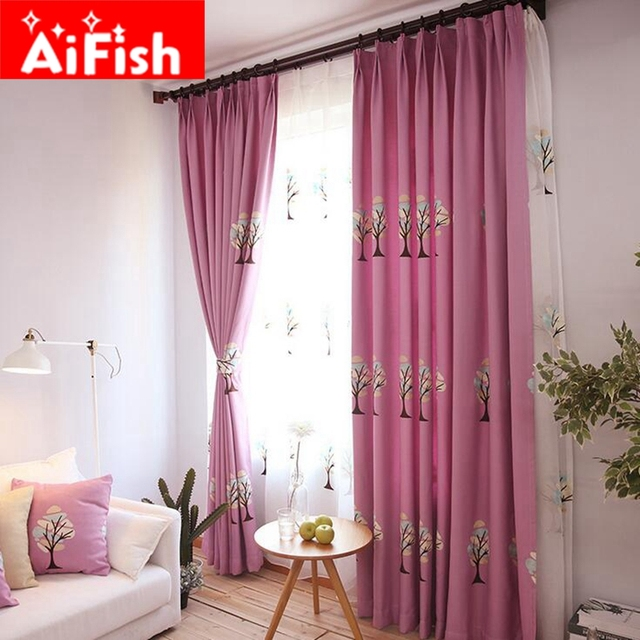 Pastoral White Embroidery Tulle For Windows Purple Insulation ...