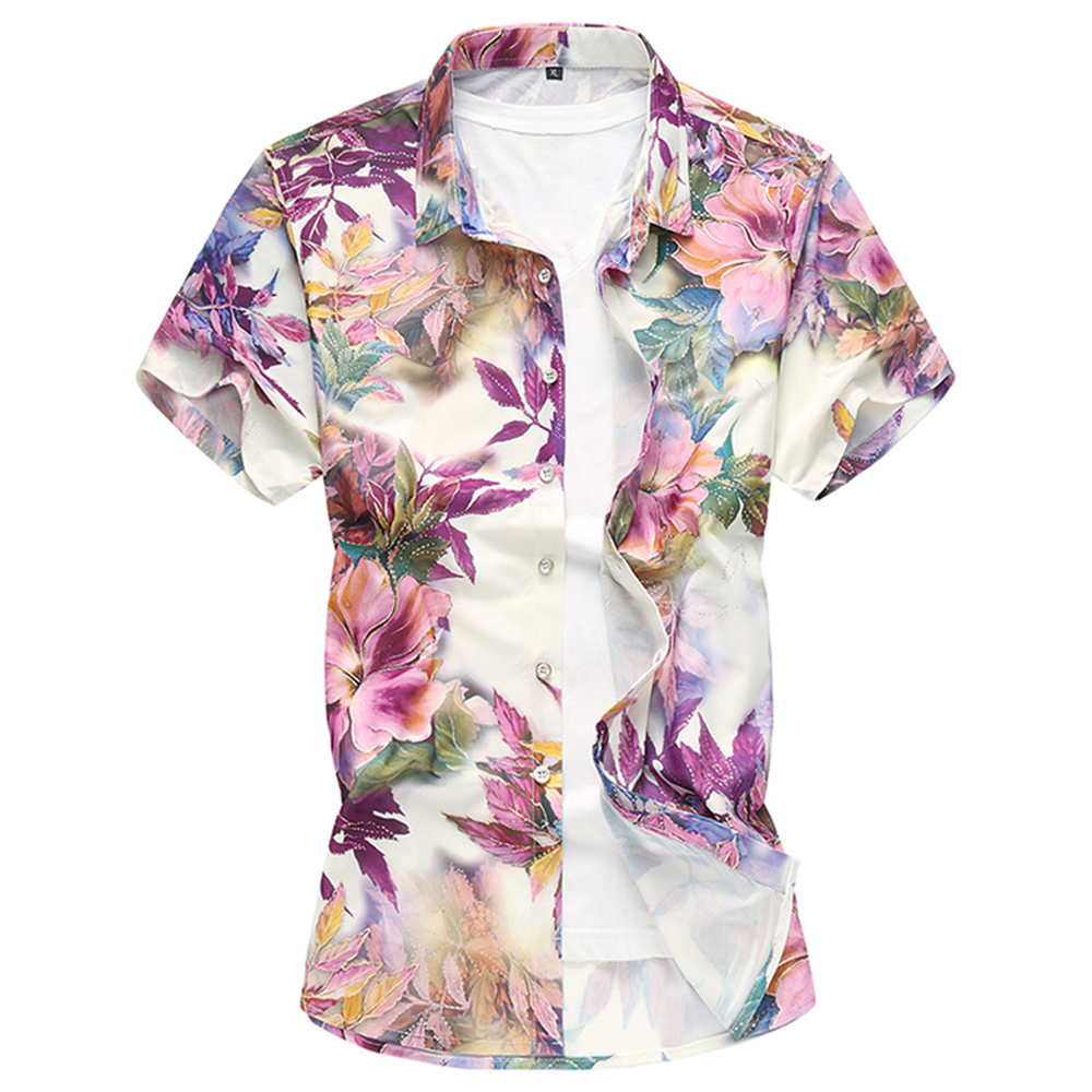 Summer Fashion Men's Shirt 2019 Flower Floral Print Short Sleeve Clothes Trend Male Slim Fit Casual Shirts Large Size 7XL