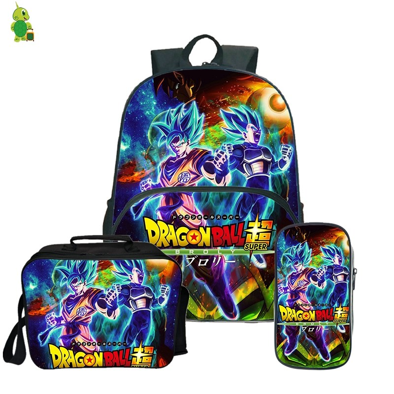 Dragon Ball Super Broly Backpack Pencil Case School Bags for Teenager Boys Girls Lunch Backpack 3Pcs